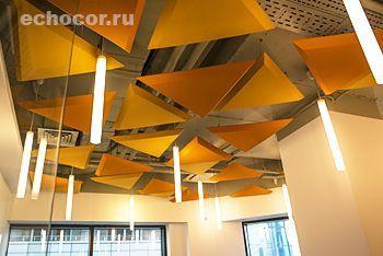Подвесные акустические панели ЭхоКор треугольной формы с фасками